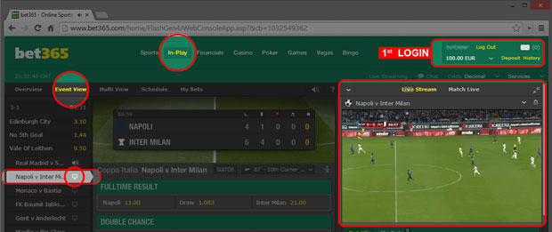 How to watch livestream matches online at Bet365
